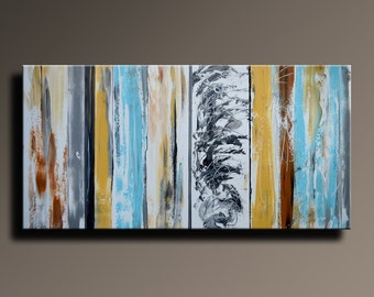48x24 Large Original ABSTRACT PAINTING on Canvas Contemporary Modern Art White Yellow Gray Black Brown Blue Home Decor - Unstretched - AB24