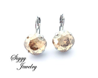 Champagne Swarovski Crystal Earrings, 12mm Golden Shadow, Cushion Cut, Select a Finish, Bridal, Gift for Her, Siggy Jewelry, FREE SHIPPING