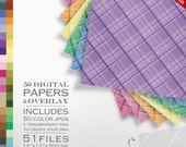 80% OFF SALE Plaid Digital Paper Pack - 50 Colors and a Plaid Overlay to DIY - Digital Scrapbook Paper Gradient Digital Paper Packs