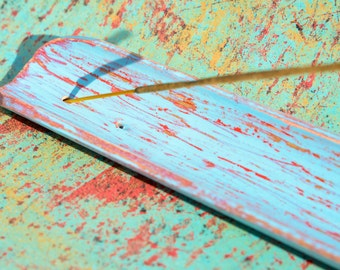 Hand Distressed Aqua & Red Wood Incense Burner