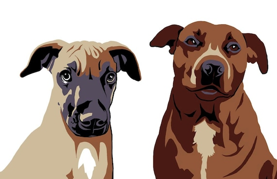 Digital portrait of your pet in plane colors (vector imitation) from your photos, dog lovers, cat owners, made to order