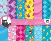 80% OFF SALE Mermaid digital paper, commercial use, scrapbook papers, background chevron - PS664