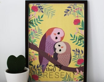 Print 'Enjoy the present' (illustration owls)