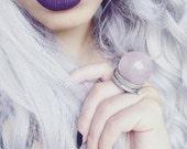 Rose Quartz Crystal Ball Ring - Adjustable Ring - Pink Stone Ring