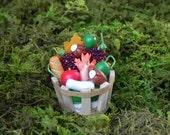Miniature Harvest basket with clay vegetables fruit bread miniature fairy garden dollhouse terrarium supply autumn accessories supply