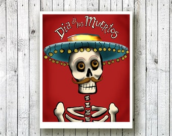 Day of the Dead printable art Dia de Los Muertos Caballero Catrin Skeleton PDF print your own party decoration. Gift for him jpg