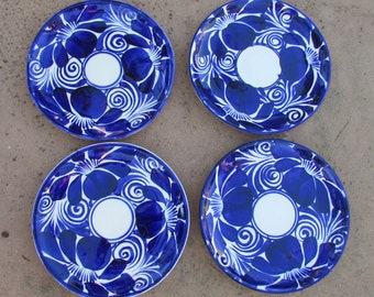 Vintage Blue and White Mexican Pottery Plates