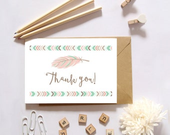 Tribal Thank You Card, Aztec Thank You Card, Pink and Mint Thank You Card, Feathers, Folded Thank You Card, Thank You Cards, Note Cards