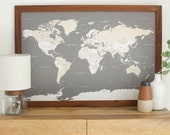 Push Pin Travel Map - World Map  - Framed World Map - World Map Push Pin - World Map Wedding - Travel Map - Valentines Day Gift