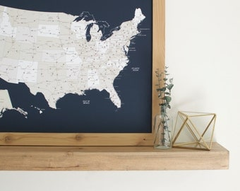 US Map, Push Pin Map, United States Map, Map Wall Art, Navy Blue Map, Travel Gift, Gift for Traveler, Map Art, Map of the World, Map Print