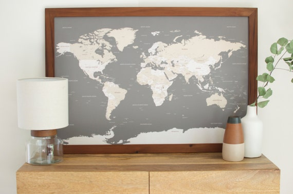Push Pin Travel Map World Map Framed World Map World by Wayfaren – Framed World Travel Map