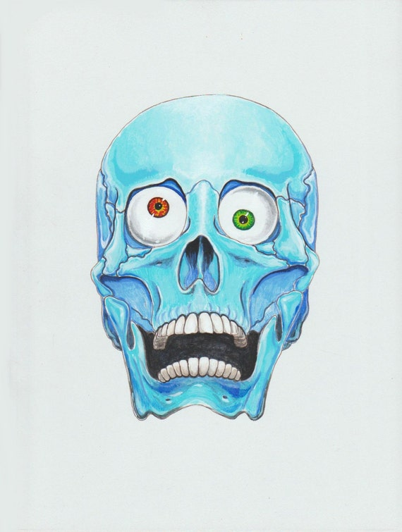 skull with different color eyes painting