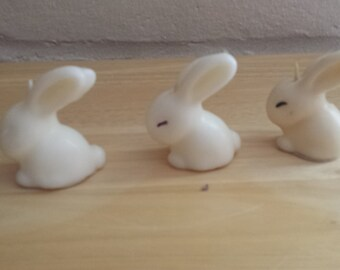 Three Vintage Easter Bunny Candles