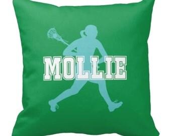 Lacrosse Throw Pillow & Cover, Custom, Girls LAX Pillow, Monogram, Green, Pool, White - ANY Colors, 14x14, 16x16, 18x18, 20x20, 14x20, 26x26