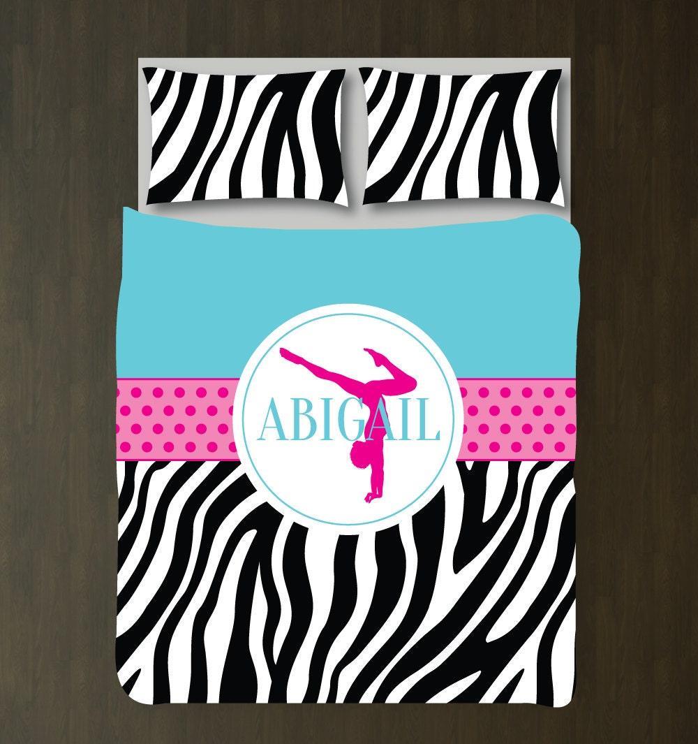 Gymnastics Bedding Set Zebra Duvet Cover Shams Gymnast
