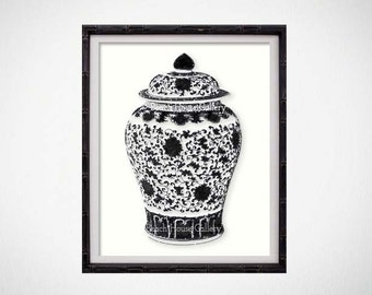 Black Ginger Jar Art Print, Black and White Chinoiserie Wall Art, Black Asian Pottery Art, Black Vase Print,