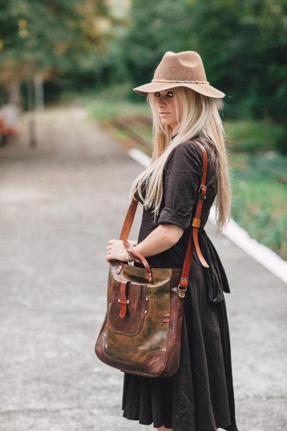 Vogue Large Bag, Hand painted Genuine Leather Bag,  Genuine Leather Handmade Bag, Laptop bag, Leather Laptop Bag, Custom Bag