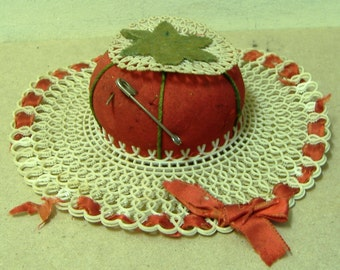 Vintage Pin Cushion red green hat plastic canvas ribbon charming worn patina sewing notion tool