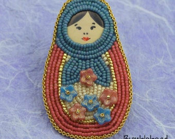 Russian Doll / Matryoshka Doll Brooch - Beading Tutorial