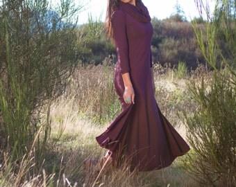 MIDNIGHT PRIESTESS DRESS - full length cowel neck bamboo dress with great movementby priestessanddeer