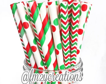 SALE: Red and Green Paper Straws--50 Red and Green Polka Dot and Stripe Paper Straws Combo, Holiday Paper Straws, Christmas Party, Diy Flags