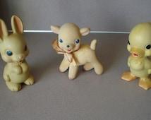 Rempel 3 Vintage Rubber Rempel MFG. Co. Toys: Rabbit , Duck, Lamb   Rempel