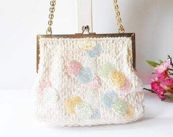 White Evening Bag, Vintage Evening Bag, Beaded Evening Bag, Richere Bag, Pastel Beaded Trim, White Clutch Bag, Wedding Bridal EB-0713