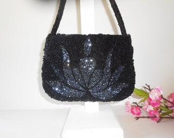 Beaded Evening Bag, Black Grey Purse, Vintage Handbag, Vintage Beaded Bag, Black Beaded Bag, Black Handbag, Sparkly Purse EB-0728