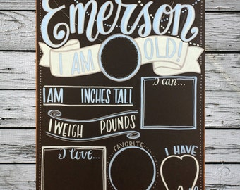 Reusable monthly baby milestone chalkboard/Photo prop/Flowy modern script