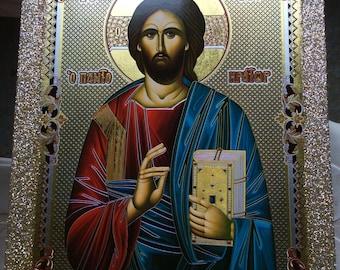 Jesus Christ - Pantocrator - Orthodox Byzantine icon - Gilded Silver Plated Icon on wood (30 cm x 22.2 cm)