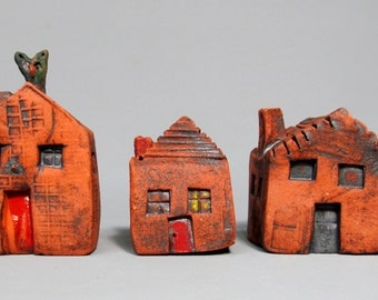 3 Ceramic Miniature Houses