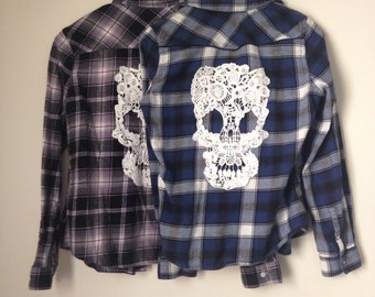 Blue or Purple Flannel with Skull