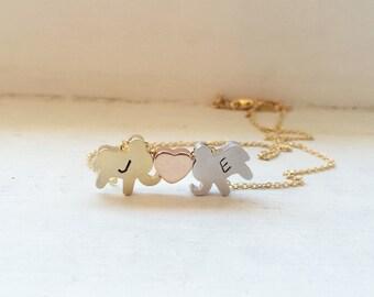 Elephant heart necklace, lucky elephant, personalized jewelry, Valentine's Day