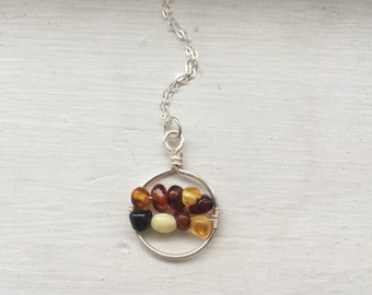 Baltic amber bar necklace, amber bead necklace, stone necklace, wire wrapped stones
