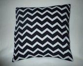Decorative Pillow Cover, Throw pillow Cover Single ,18 x 18 Black and White Chevron