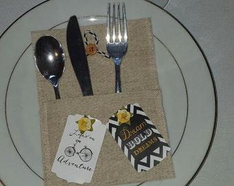 Linen Silverware Holder Flatware Utensil Holder Dinnerware Holder