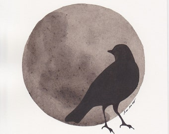 SALE Abstract Painting, Sepia Sphere, Black Bird Silhouette, Original Watercolor Painting, 5 x 7