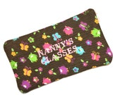 Nanny's Glasses padded case, Owl Fabric Glasses Case, Handmade Glasses Case, Embroidered Case, Glass Case, Case with zip,