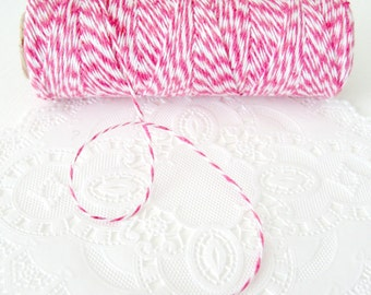 10 Yards Dark Pink and White Baker's / Bubblegum Pink Twine Spool Cotton Twine Pretty Packaging