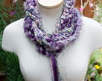 Purple Fiber Skinny Scarf - Art Scarf Hand Crochet with Ribbons Art Yarn Eyelash Yarn and   Hand Spun Yarn Purples and Pastel Colors OOAK