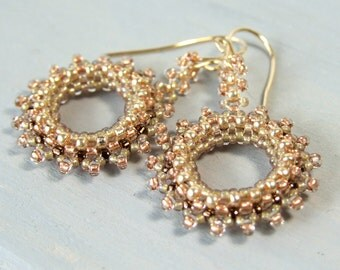 Copper and Gold Earrings, Bead Woven Earrings, Seed Bead Earrings, Unique Earrings Handmade Jewelry Gift, Gold Filled, Pink Brown, Beadwork