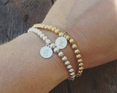 Initial Sweet Beads Bracelet -  Mother's Day Gift, Mum Bracelet, Children's Initials, Stacking Bangles, Mom Jewelry