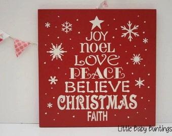Christmas sign/joy/noel/love/peace/Christmas wooden sign