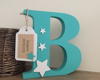 Personalised Wooden Letter /Free Standing Wooden/ Nursery Decor/Christening/New Baby
