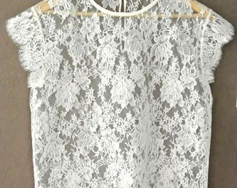 Ivory French Lace Top, Short Sleeve, French Calais Lace Blouse, Vintage Pearl Button,  Made to order