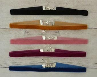 Set Of 5 Velvet Chokers, Plain Velvet Chokers, Simple Velvet Chokers, Choker Necklace, Mix And Match, Choose Colours