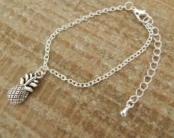 Silver Pineapple Bracelet, Pineapple Charm Bracelet, Silver Pineapple Charm, Fruit Jewellery,