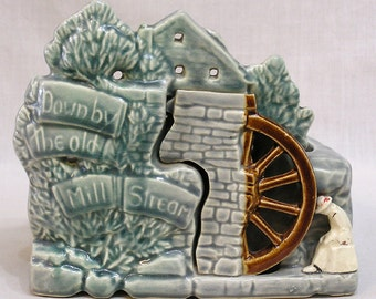 Vintage McCoy Down By the Old Mill Stream Planter Old Mill Man by Wheel 1953