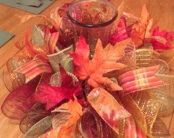 Fall Centerpiece/ Thanksgiving Deco Mesh Centerpiece/ Deco Mesh Candle Holder/ Deco Mesh Centerpiece
