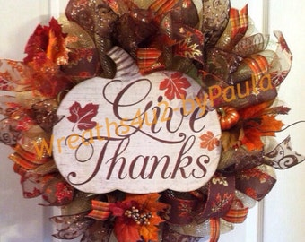 Thanksgiving Wreath/ Fall Wreath/ Pumpkin Wreath/ Fall Deco Mesh Wreath/ Give Thanks Wreath/ Thanksgiving Mesh Wreath/ Fall Door Decor
